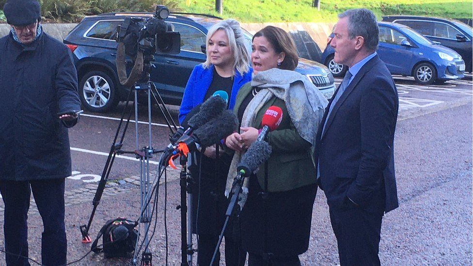 The Sinn Féin team speak to the media after fresh talks at Stormont on Monday