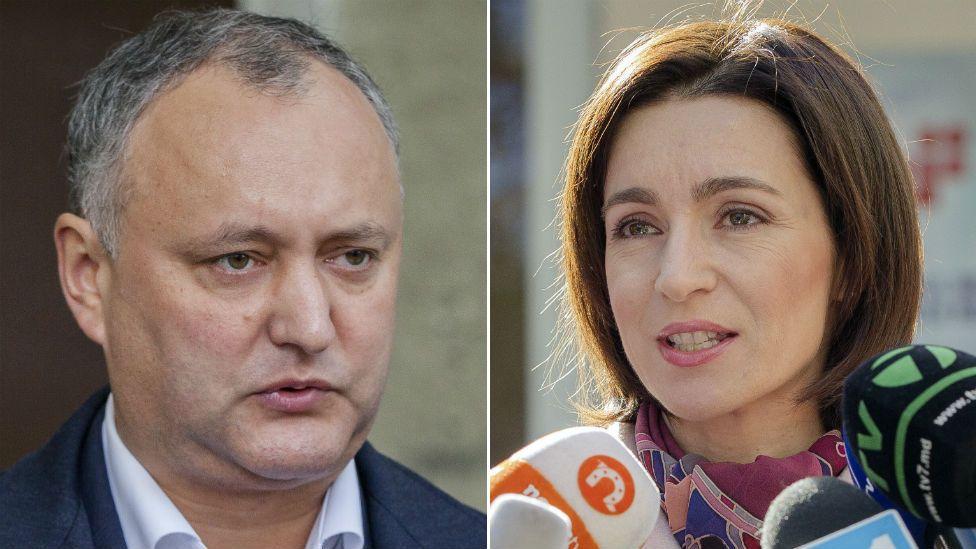 Moldova presidential candidates Igor Dodon, left, and Maia Sandu