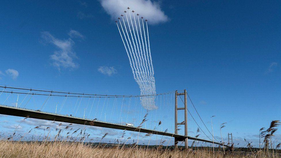 Red Arrows over Humber Bridge