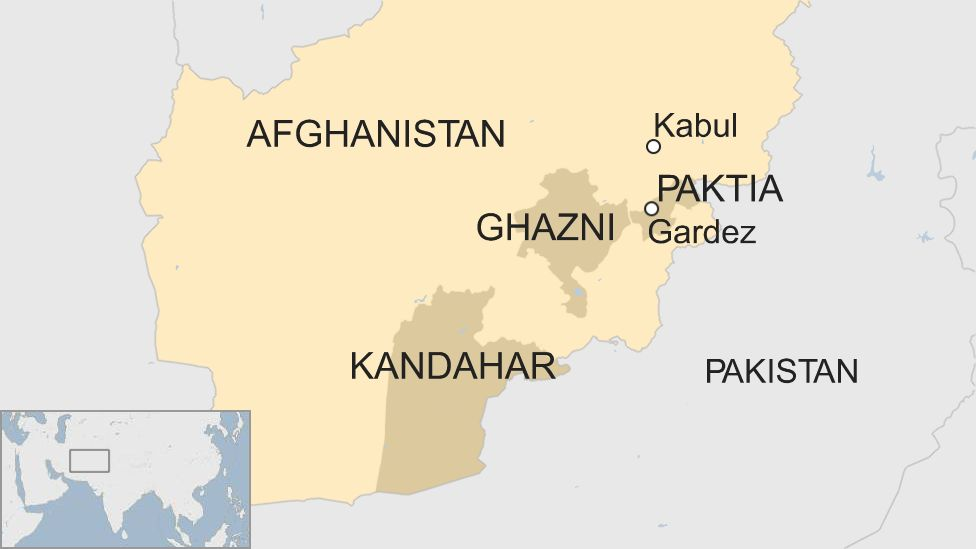 A BBC map showing the location of Kandahar in Afghanistan