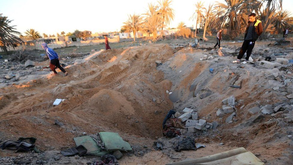 Crater after air strike near Sabratha, Libya, 19 February