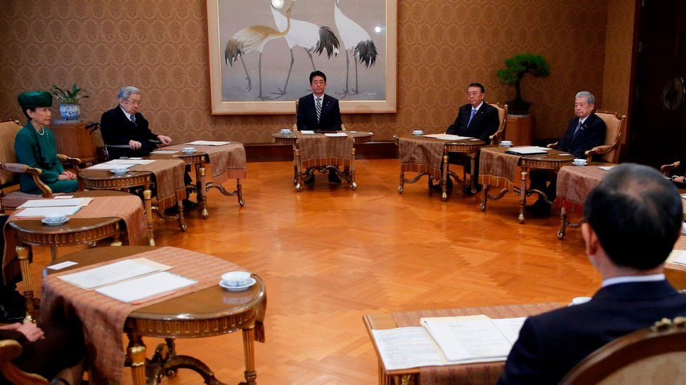 Japan's Prime Minister Shinzo Abe, House of Representatives speaker Tadamori Oshima, House of Councillors speaker Chuichi Date, Chief Cabinet Secretary Yoshihide Suga, Princess Hanako and Prince Hitachi attend a meeting of the Imperial Household Council to discuss the timeline for the abdication of Japan's Emperor Akihito at the Imperial Household Agency in Tokyo on 1 December 2017