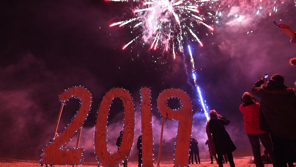 Some people took to Southwold Beach in Suffolk to see in the new year