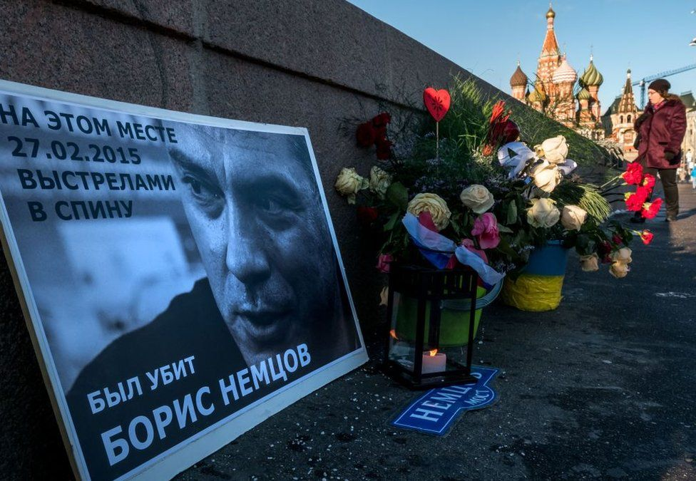 Floral tributes at the site where opposition leader Boris Nemtsov was fatally shot on a bridge near the Kremlin, in Moscow, pictured on 10 January, 2018.