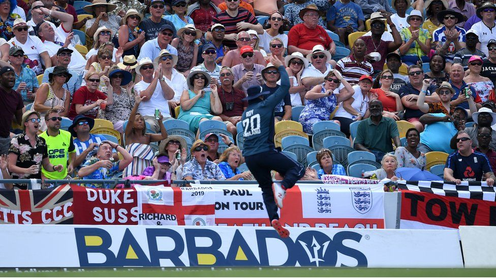 A shot of the crowd during a match between the West Indies and England at Kensington Oval on February 22, 2019, in Bridgetown, Barbados