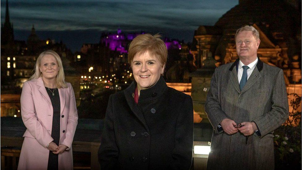 Scottish National Investment Bank CEO Eilidh Mactaggart, First Minister Nicola Sturgeon, and bank chairman Willie Watt launched the national bank