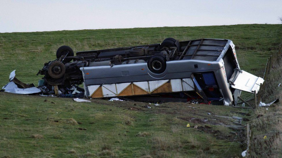Upturned bus in field in Scottish Borders.