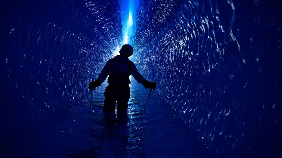 Lewis Pugh in an Antarctic tunnel
