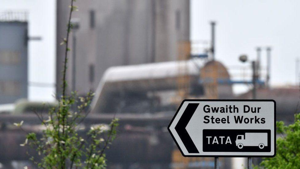 Tata steel sign in Port Talbot
