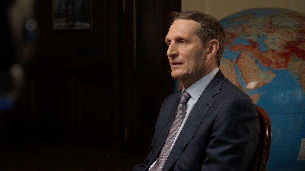 Sergei Naryshkin, Director of Russia's Foreign Intelligence Service speaks to Steve Rosenberg