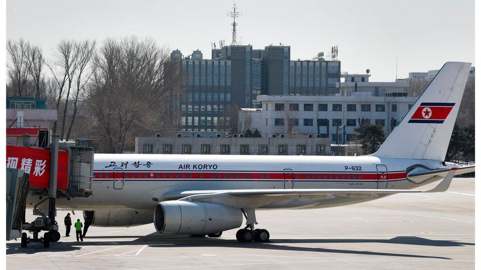 A view of a North Korea Air Koryo plane parked at Terminal Two of Beijing Airport, Beijing, China, 7 March 2017.