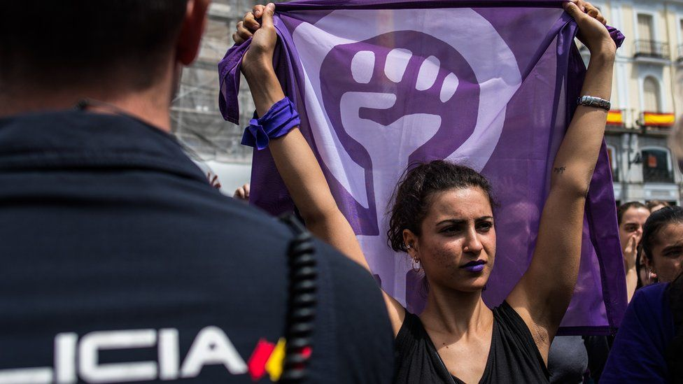 A woman protesting against the verdict of 'La Manada' case in Madrid in May 2018