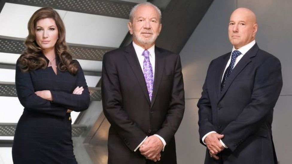 Lord Sugar (centre) with Apprentice colleagues Karen Brady and Claude Littner