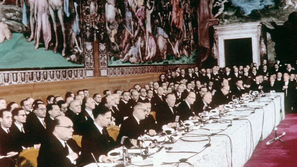 The signing of the Treaty of Rome in 1957