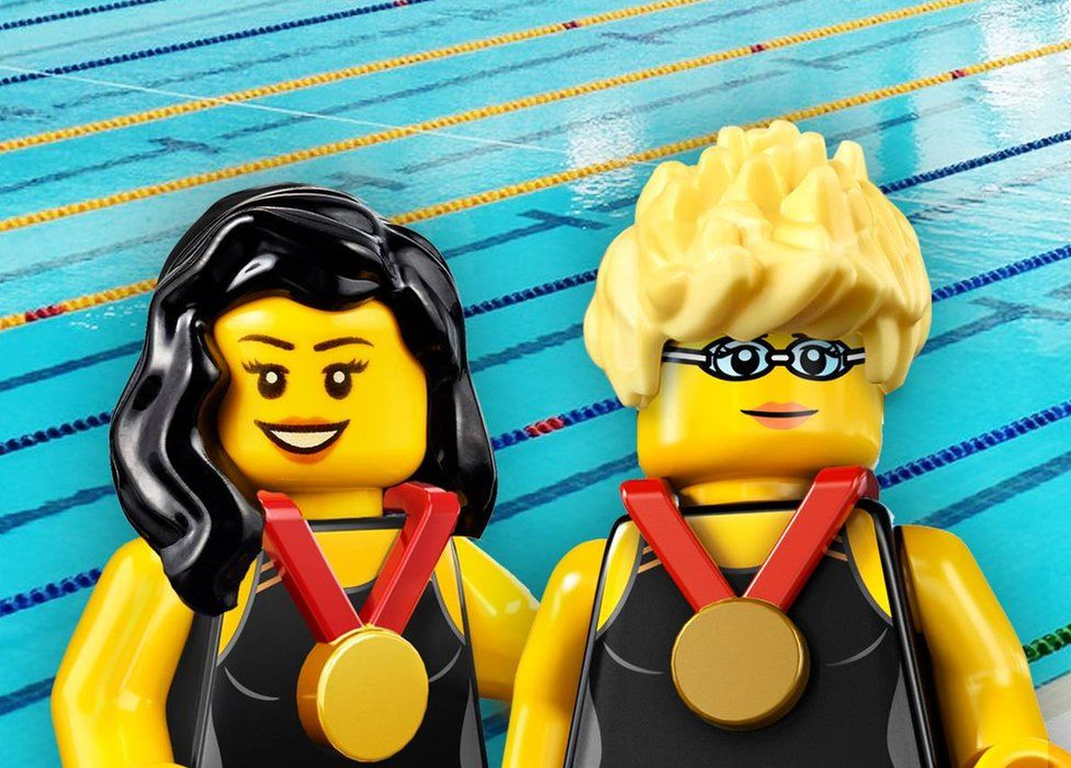 Lego figurines of Singapore Paralympians Yip Pin Xiu and Theresa Goh