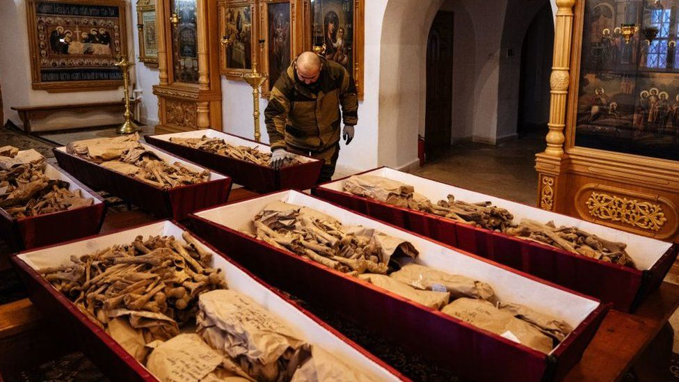The remains of French and Russian soldiers on display