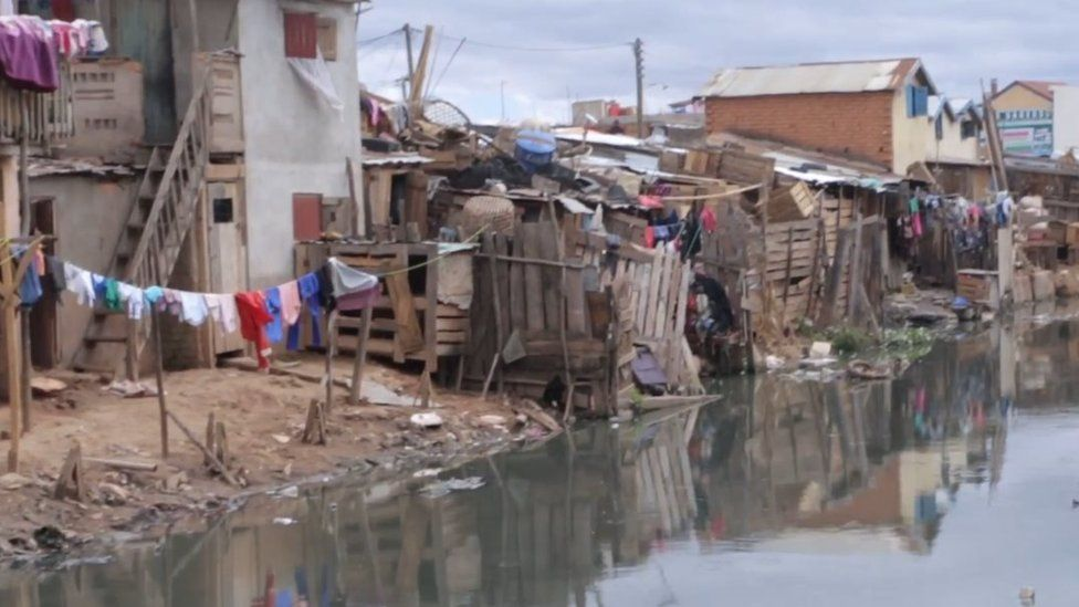 Open sewer in shanty town