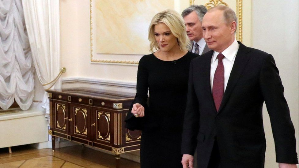 Megyn Kelly and the Russian President at the Kremlin