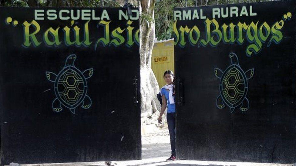 The gate to the Raul Isidro Burgos school in Ayotzinapa on 7 November, 2014