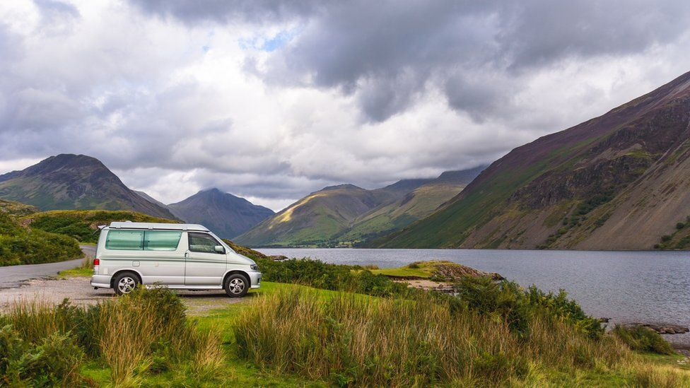 A campervan next to Wast Water
