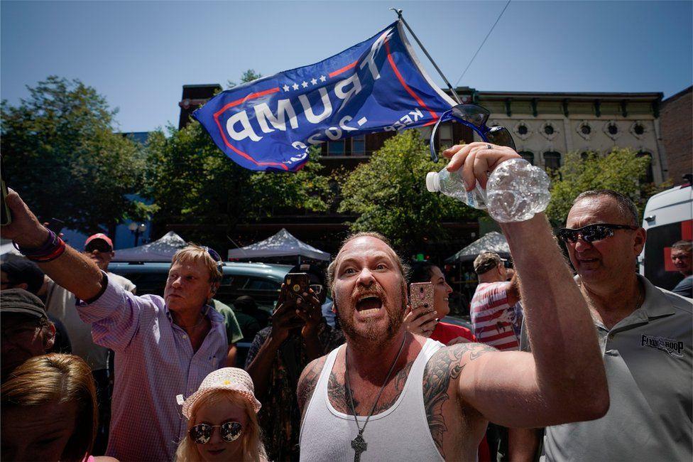 Trump supporters in Dayton, 7 August