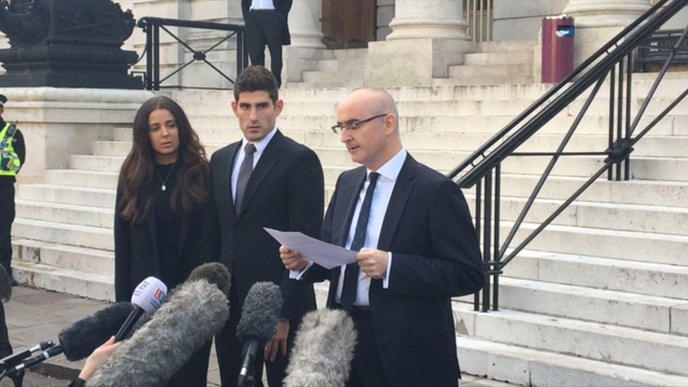 Ched Evans outside the court