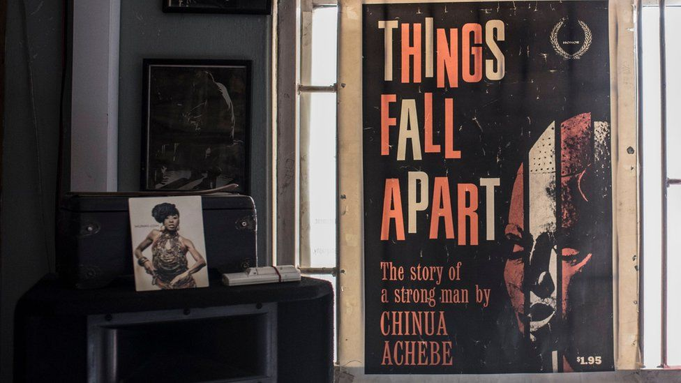 A poster for Things Fall Apart in the Jazz Hole bookshop in Lagos, Nigeria
