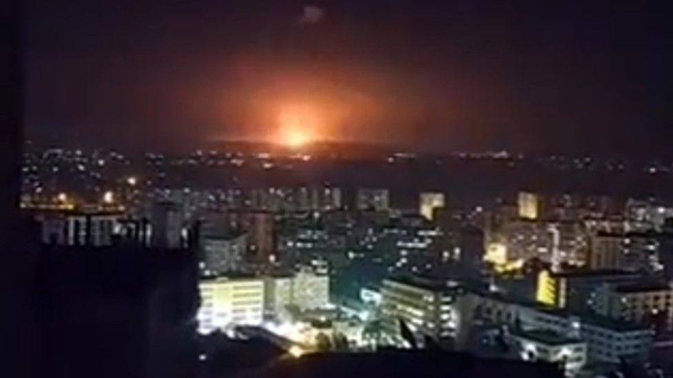 Video posted online purportedly showing a missile strike in the Damascus suburbs on 6 February 2020