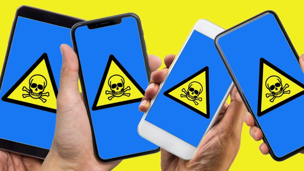 Illustration of several smartphones with poison symbols on the screen