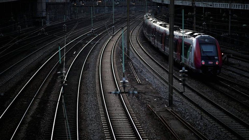 A local train leaves the Pont Cardinet railway station during a transport strike on 30 December 2019