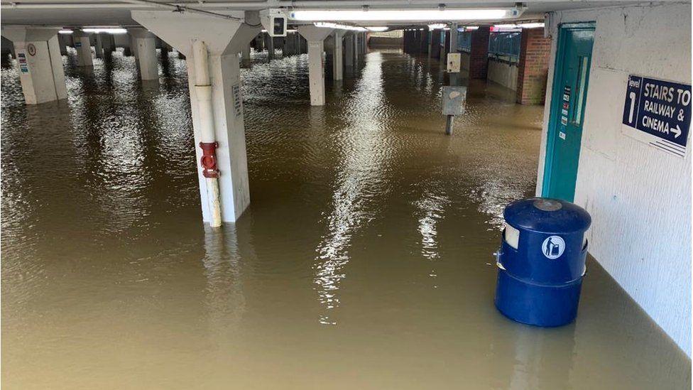 Bedford Road car park in Guildford, Surrey, was flooded