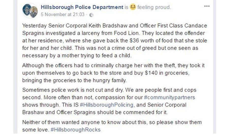 Facebook of Hillsborough Police Department