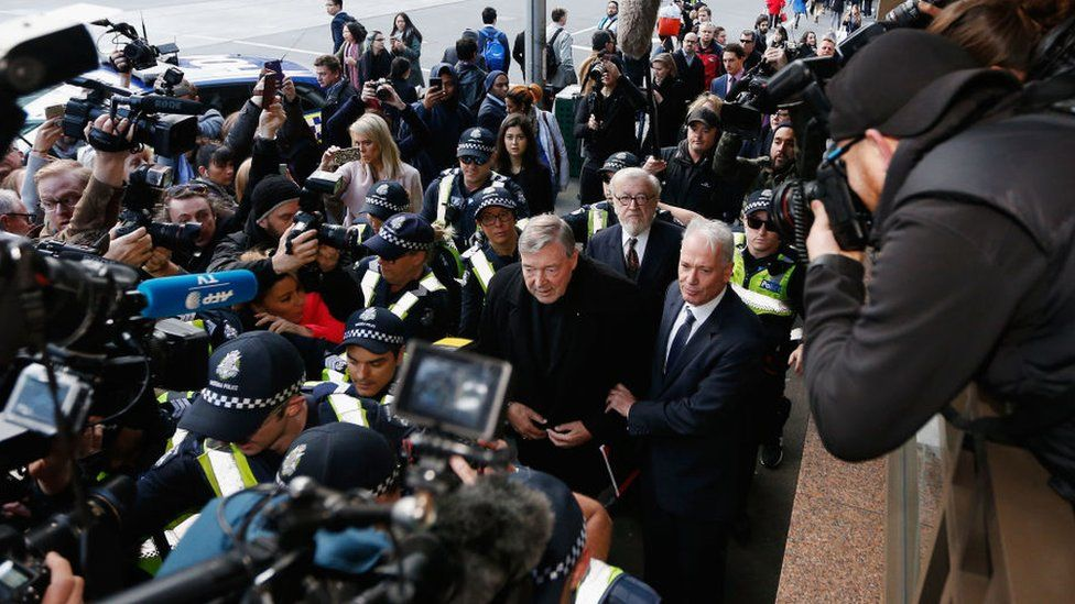 Cardinal George Pell arrived at court with a heavy police guard