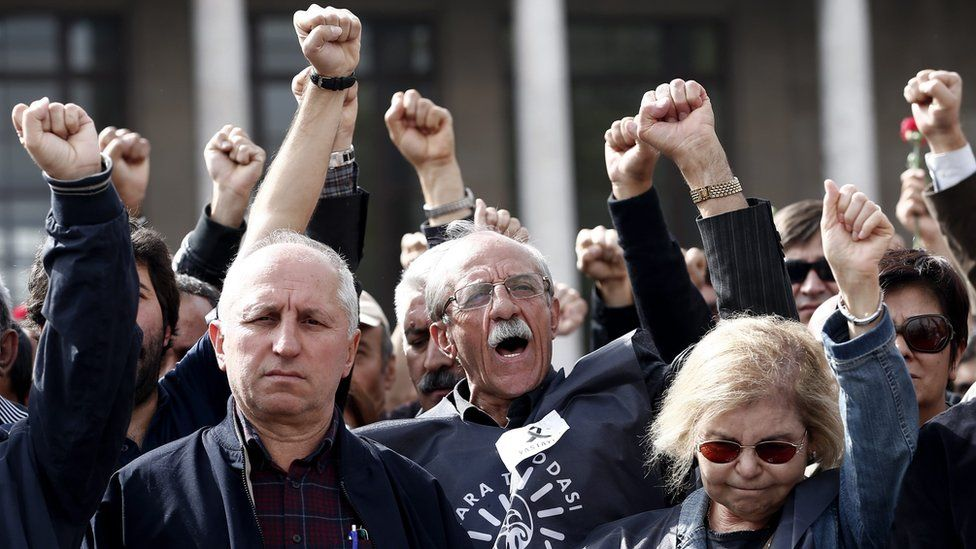 People shout slogans against the Turkish government during a demonstration in Ankara Turkey, 12 October 2015