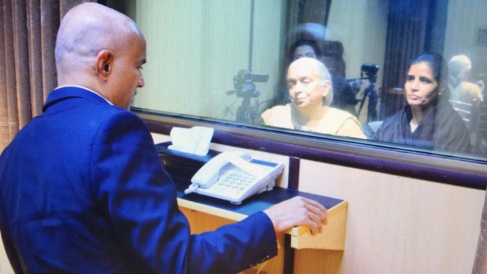 Official photos showed Jadhav meeting his mother and wife