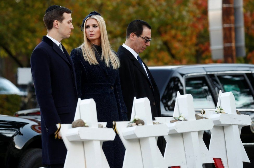 Jews from Mr Trump's administration, including Jared Kushner, Ivanka Trump and Steven Mnuchin accompanied Mr Trump on the trip