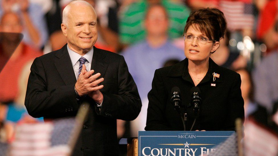 John McCain with Sarah Palin onstage at a campaign rally in Dayton, Ohio (August 2008)