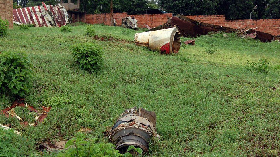 Wreckage from plane crash in which Burundi's former President Ntaryamira and his Rwandan opposite number died in 1994