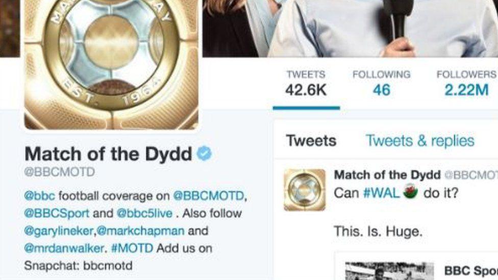 Newidodd cyfrif Twitter Match of the day ei enw am gyfnod er syndod i llawer o'u 2.2 miliwn o ddilynwyr mae'n siwr