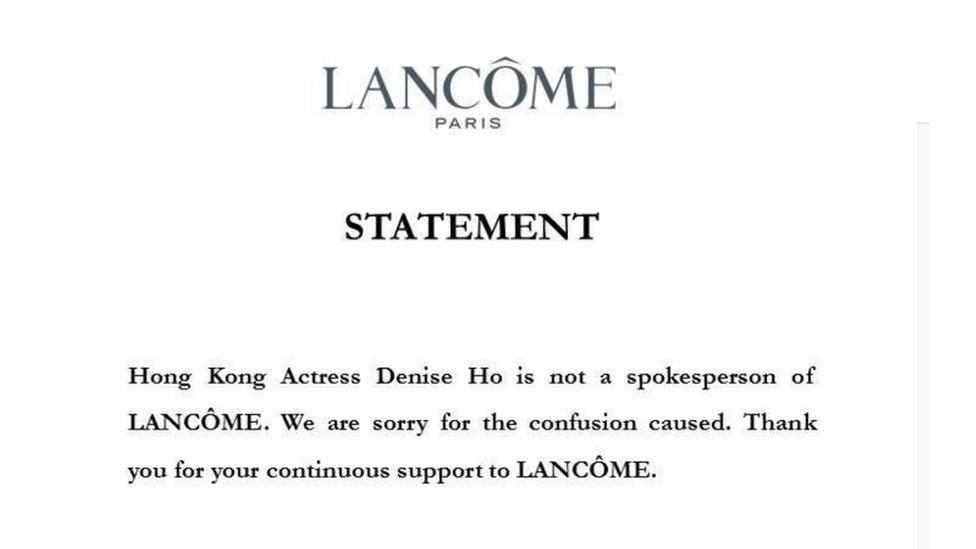 Printscreen of Lancome's statement on Facebook
