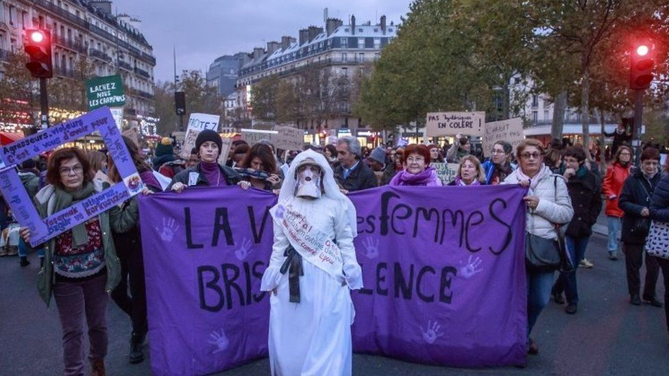 Protesters march in Paris, France. Photo: 23 November 2019