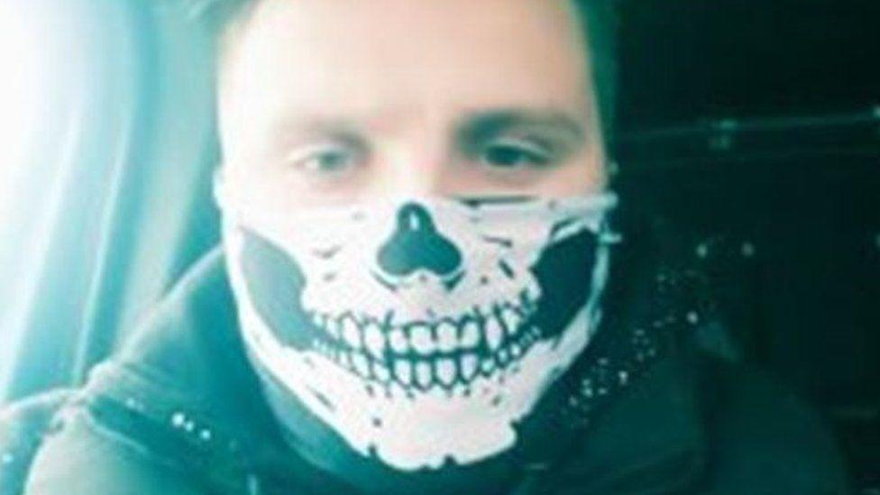Daniel Ward in a skull mask
