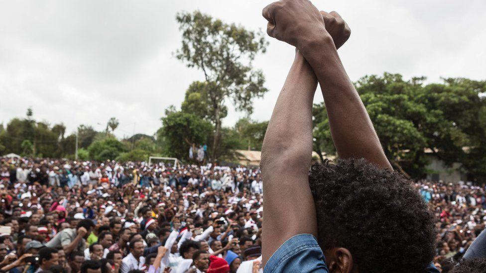 Anti-government protester in Ethiopia