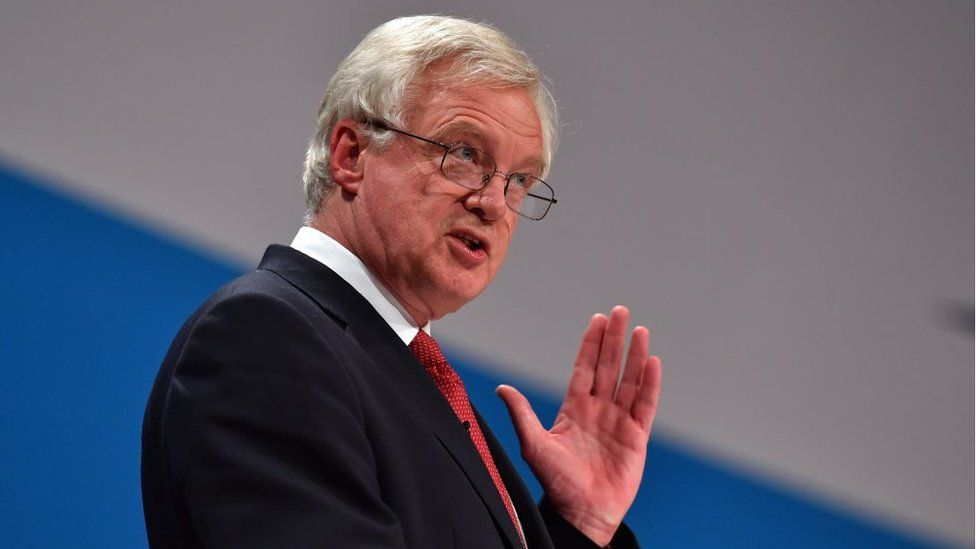 David Davis, the UK's Minister for Exiting the European Union, speaking at the Conservative Party conference