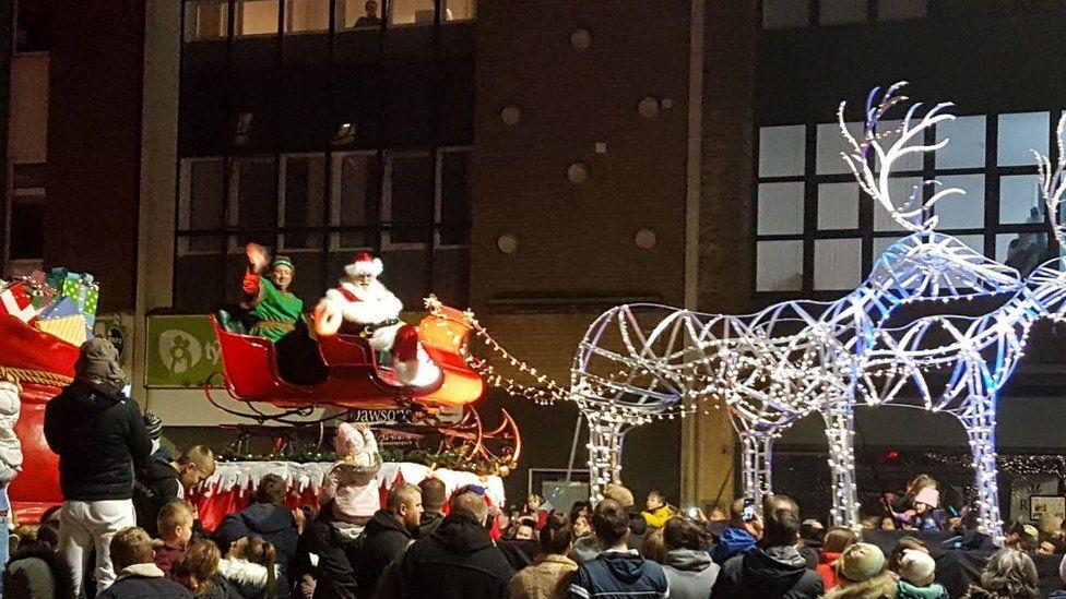 A photo of Santa on a sleigh