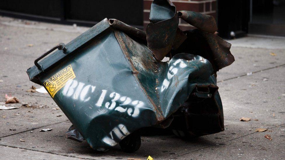Mangled box in New York, 18 Sept