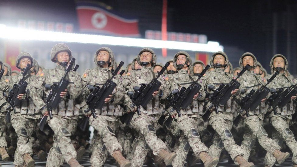 North Korean soldiers during a military parade