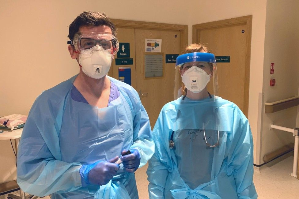 Staff at Bradford Royal Infirmary in PPE