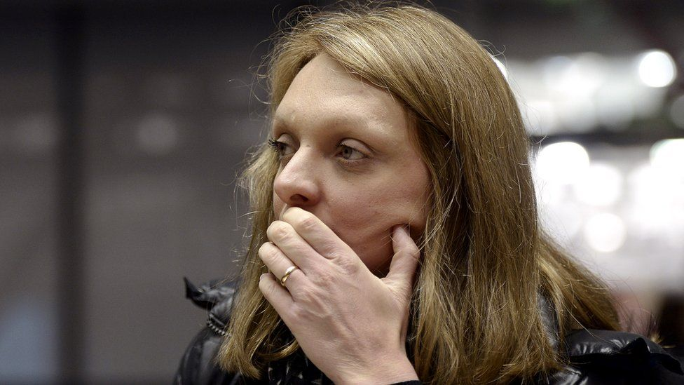 Rachel Lambert looks on ahead of the hearing in the case of her husband Vincent, at the European Court of Human Rights in the eastern French city of the Strasbourg, 7 January 2015