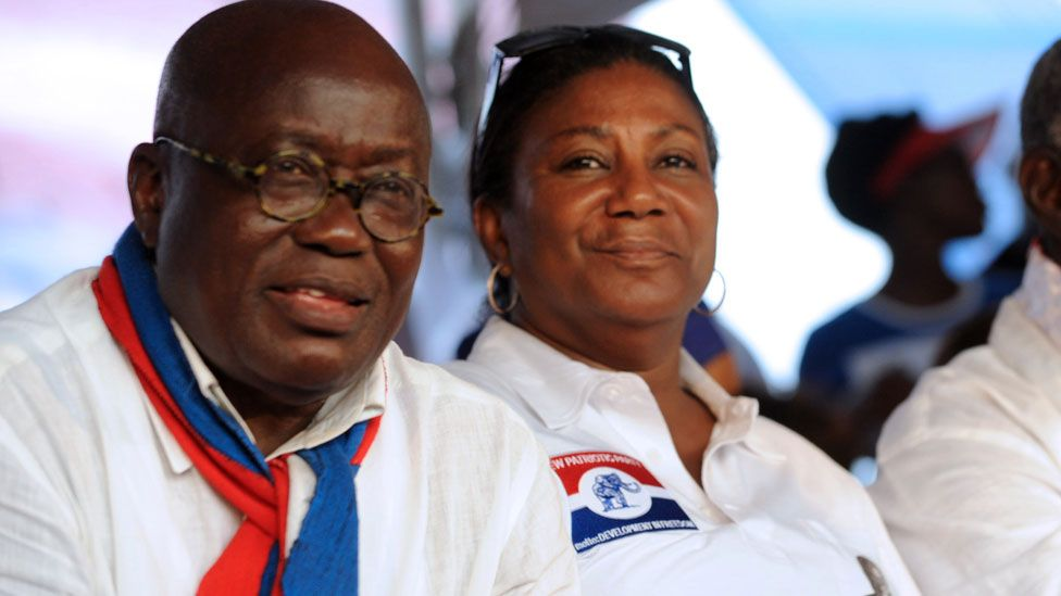 Nana Akufo-Addo and his wife sitting.